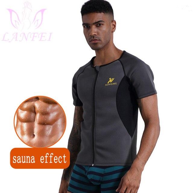 LANFEI Men Waist Trainer Body Shaper Shirt Zipper Weight Loss Hot Sweat Neoprene Sauna Slimming Shapewear Sport Gym Belt Vest