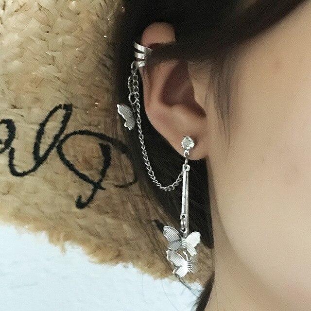 2021 Fashion Butterfly Clip Earrings Ear hook Stainless Steel Ear Clips Double pierced Earring Earrings Women Girls Jewelry 2