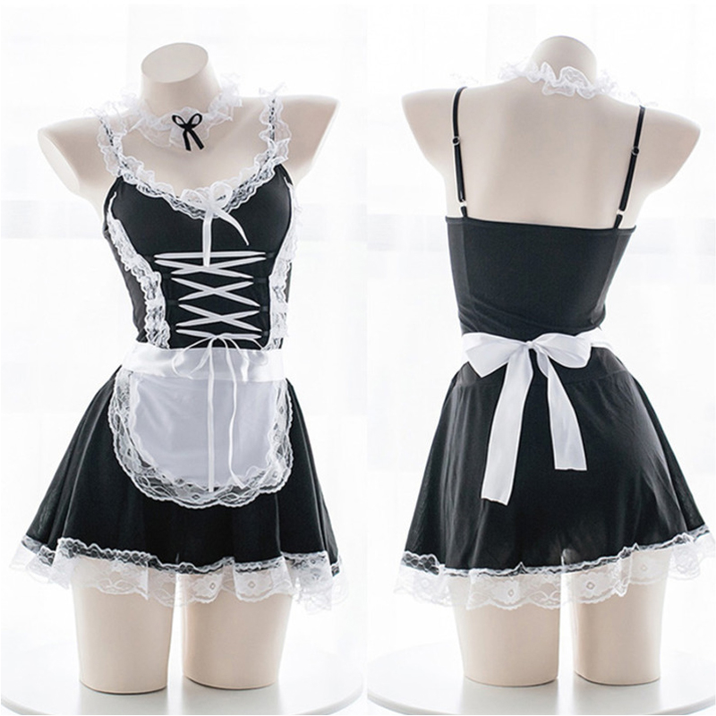 OJBK Sexy Costume Babydoll Dress Uniform Erotic Lingerie Role play Women Sexy Lingerie Cosplay French Apron Maid Servant Lolita