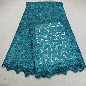 Water Soluble Nigerian Lace Fabric With Stone High Quality Embroidered African Lace Fabric For Wedding Dress 5Yards