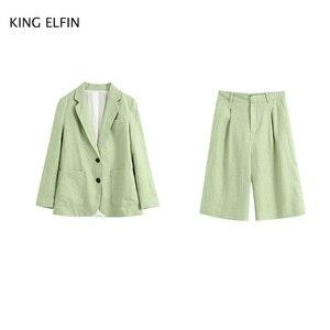KING ELFIN fashion Za suit women's 2020 summer leisure slim fit single breasted pocket blazer high waist Linen Pants female
