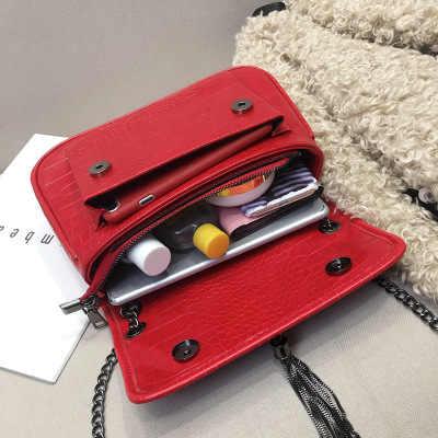 Tas untuk Wanita 2019 Baru Versi Korea Liar Batu Pola Messenger Tas Fashion PVC Dilapisi Rantai Rumbai Organ Tas Kantung Utama femme
