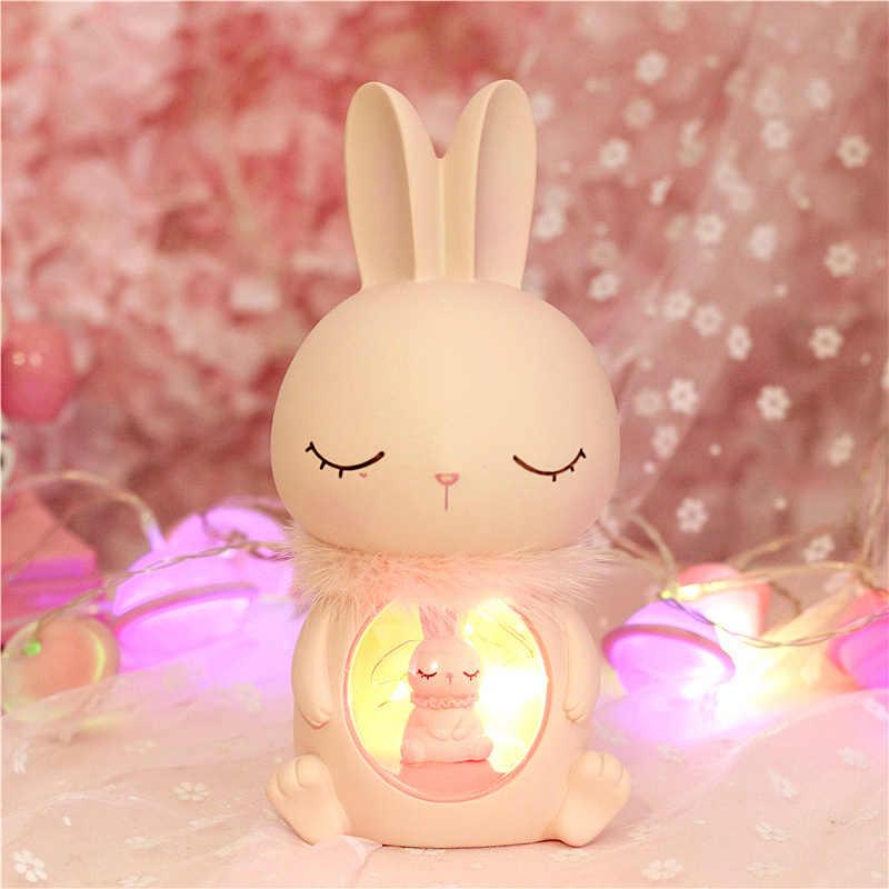 Kelinci Lucu Kreatif Pearl Ornamen Plastik Kap Lampu Malam Lampu Kerajinan Rumah Dekorasi Aksesoris Hadiah Natal