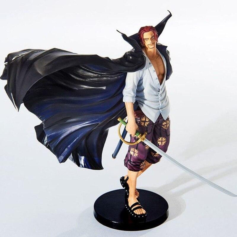 Uma peça 19cm anime figura shanks grande linha a batalha sobre a cúpula cabelo vermelho pvc figura de ação collectible modelo brinquedos boneca
