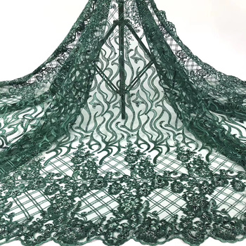 (5yards/pc) High quality green African tulle lace fabric with sequins embroidery fashion French net lace for party dress  FZZ693