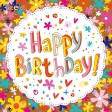 Yeele Birthday Party Decor Retro Flowers 3D-words Photography Backdrops Personalized Photographic Backgrounds For Photo Studio