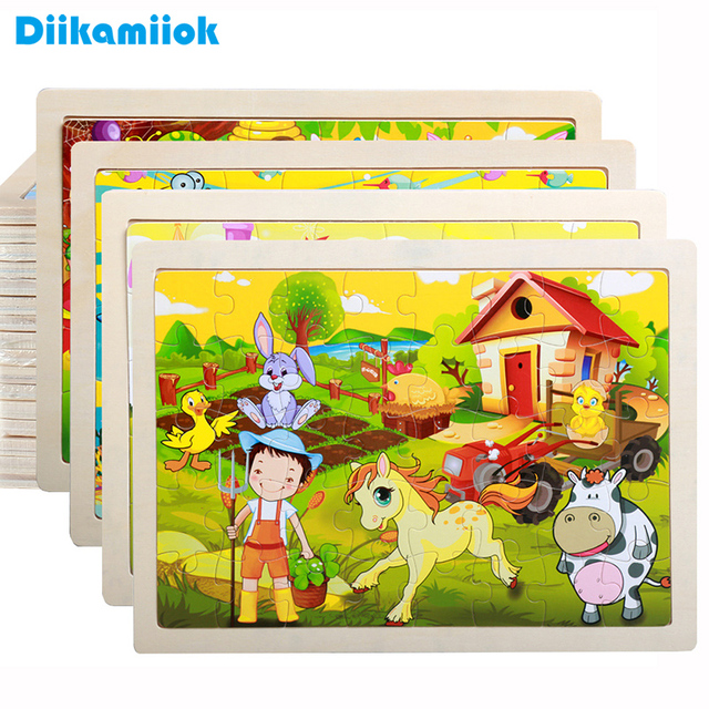 40 Pieces Kids Wooden Puzzle Board Toy Fun Cartoon Animal Jigsaw Boy Girl Baby Early Educational Learning Toys for Children Gift 1