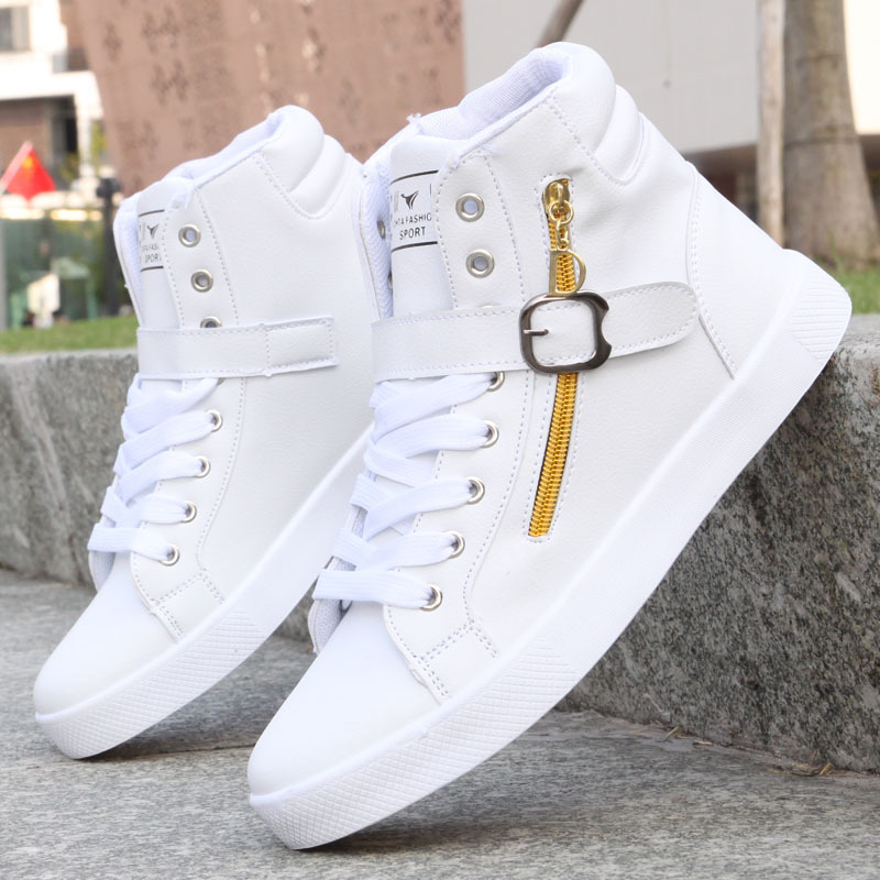 2019 Men Shoes Casual PU Leather Classic White Black Sneakers High Top Breathable Male Sneakers Lace Up Chaussure Homme Shoes