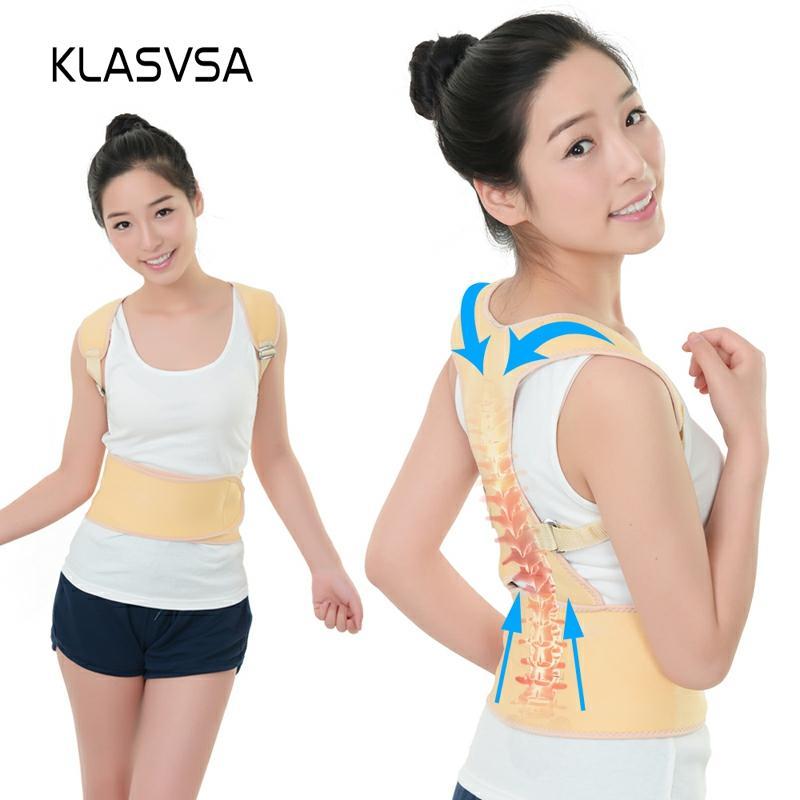 KLASVSA Adjustable Magnet Back Orthopedic Belt Men Women Shoulder Corset For The Back Posture Corrector Braces Supports Bandage