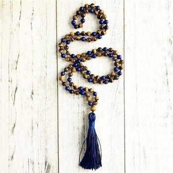 108 Mala perles collier oeil de tigre Lapis Lazuli nou gland collier Long colliers Yoga bijoux
