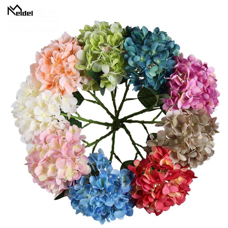 Meldel Hydrangea Flower DIY Wedding Bouquet Artificial Silk Hydrangea Flower Home Table Decor Sister Wedding Simulation Floral