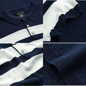 Image 5 - Мужская трикотажная рубашка поло KUEGOU, хлопковая приталенная рубашка в полоску с короткими рукавами, брендовая одежда, 16972, лето 2020