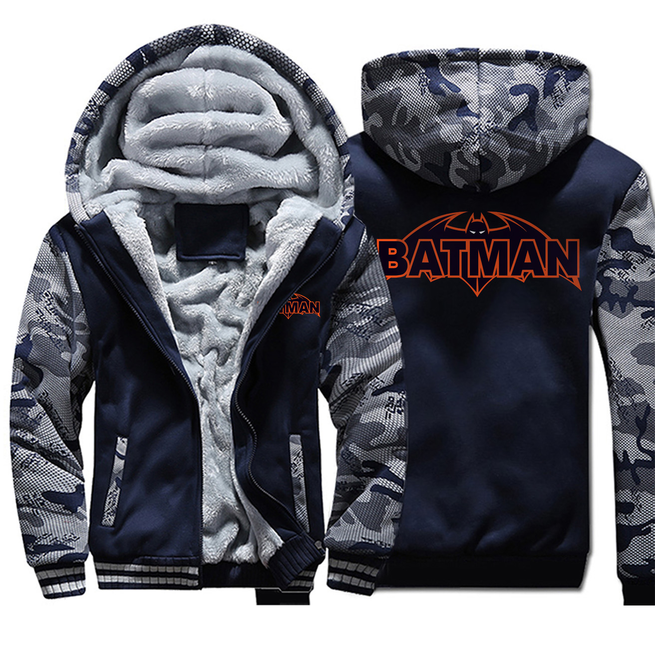 Superhero Batman Comic Hooded Sweatshit Fashion Man Thick Windproof Fleece Long Sleeve Hooded Jacket Outerwear Clothing