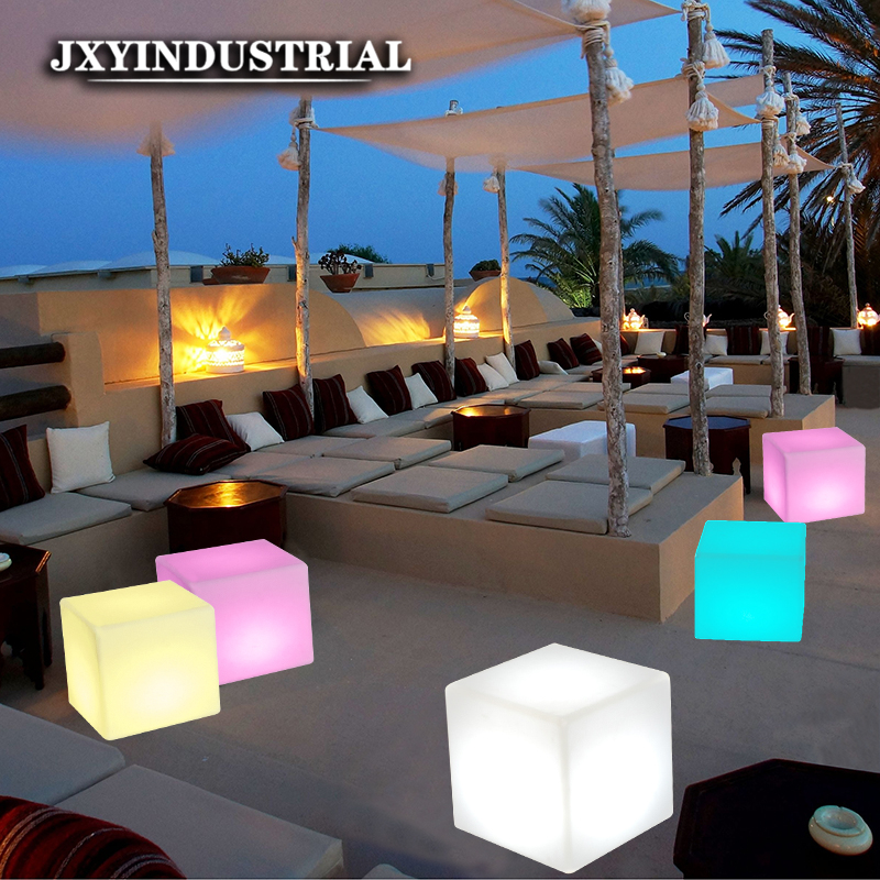 JXYINDUSTR RGB Rechargeable <font><b>Cube</b></font> <font><b>Led</b></font> Night Light Lamps Outdoor illuminated Furniture <font><b>Cube</b></font> Chair bar KTV Pub Plastic Tables Light image