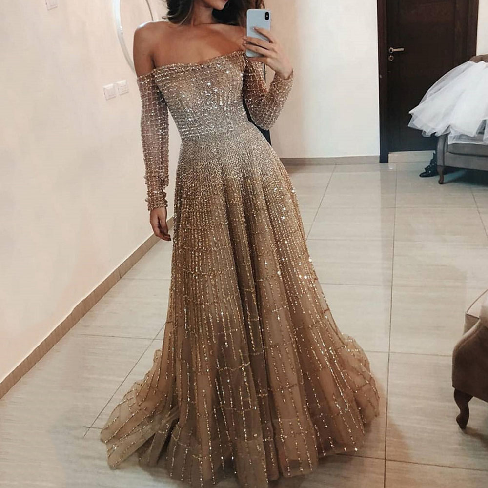 Off The Shouder Sequined Prom Party Dress Women Elegant Plaid Sparkly Wedding  Dresses Sexy Backless Brown Maxi Long Vestidos