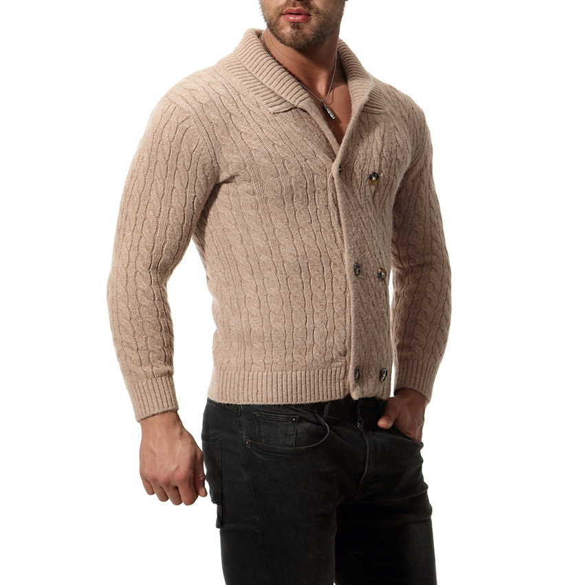 Slim Men's Sweater Knit  Long  Solid Color Regular Sweaters For Man