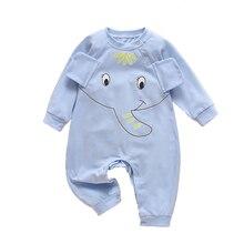 Модный комбинезон для маленьких мальчиков и девочек; одежда с длинными рукавами; комбинезон с принтом слона; Милая одежда