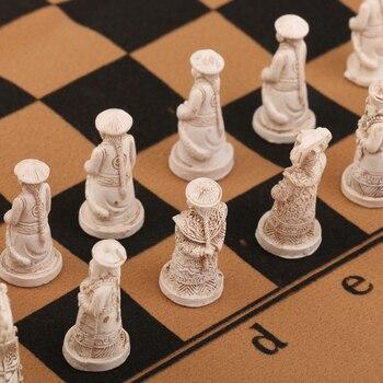 Set de pions figurines antiques chinoises pièces jeu d'échecs avec échiquier pliable offert 1