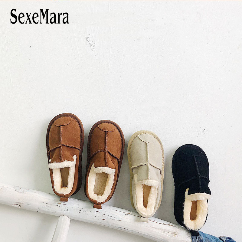 New Comfortable Children Sneakers Shoes Winter Warm Slip On Childlren Loafers Handmade Low-keyBoys Girls Thick Warm Shoes C09122