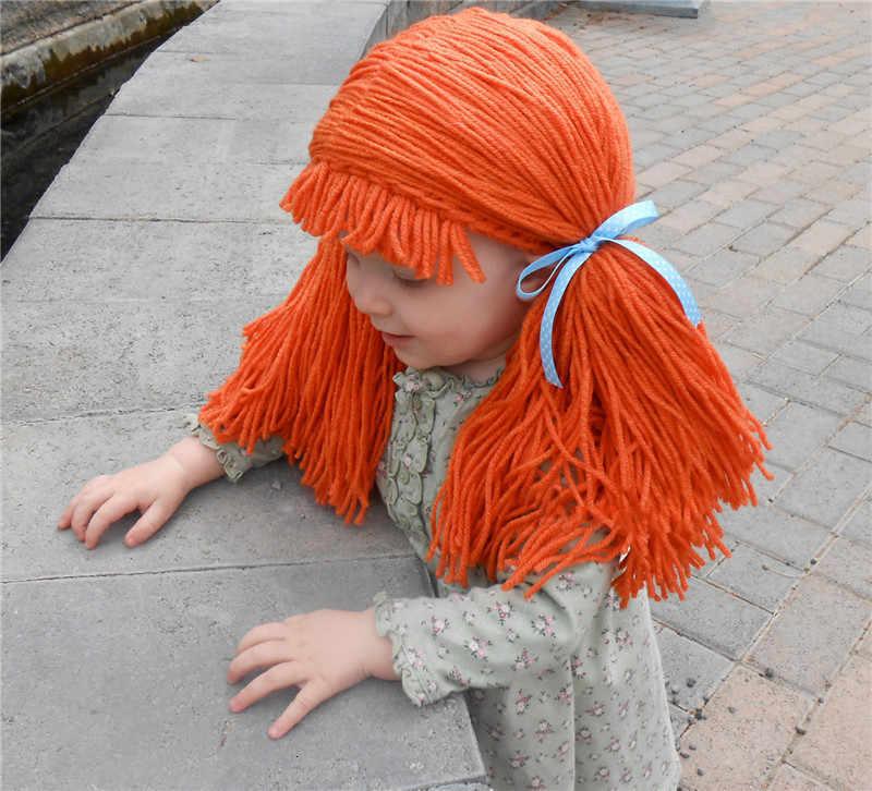 2019 palyaço peruk kızlar için çocuk cadılar bayramı hediyeler kostüm peruk komik şapka el yapımı kış sıcak tığ işi lahana yama palyaço Pigtail