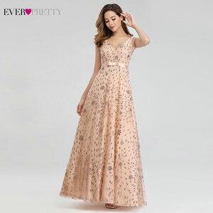 Image 4 - Elegant Rose Gold Evening Dresses For Women Ever Pretty EP00802RG A Line V Neck Bow Sahses Sparkle Party Gowns Robe De Soiree