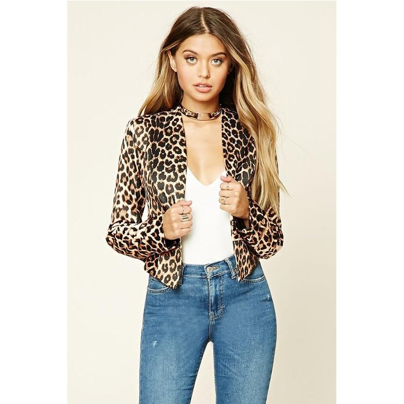 Women Blazer Vintage Leopard Print Female Retro Short Suits Slim Fit Office Ladies Leopard Coat Feminino blazers Outerwear D40