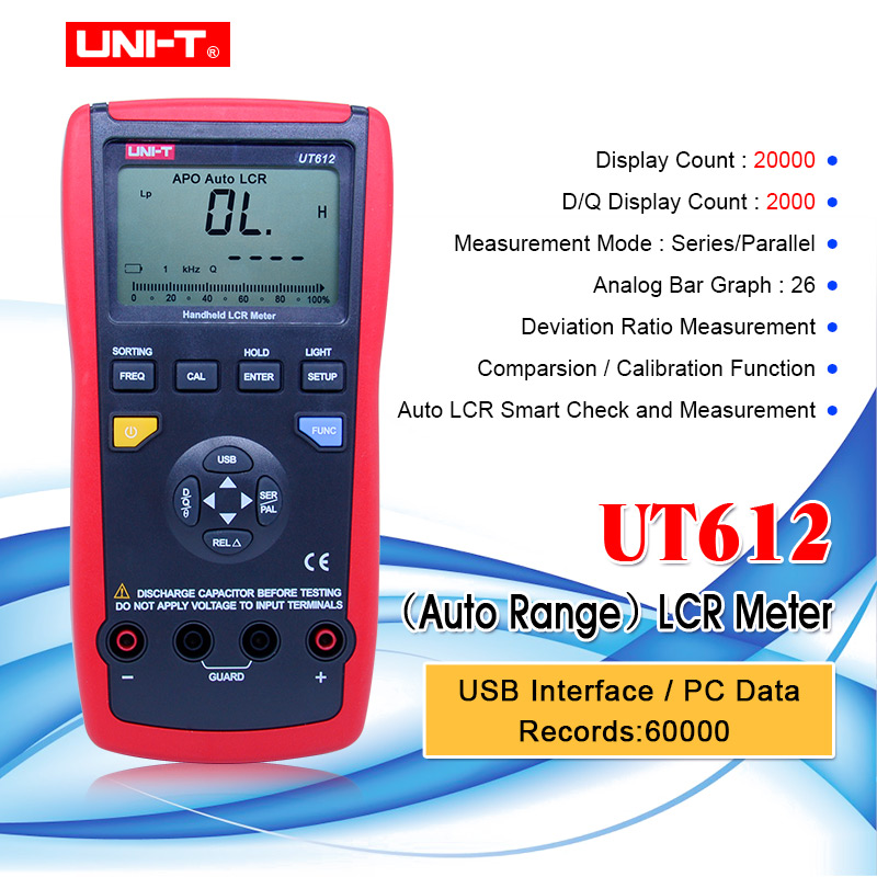 UNI-T UT612 <font><b>USB</b></font> Interface 20000 Counts Inductance Frequency Test Deviation Ratio Measurement LCR Meters with box image