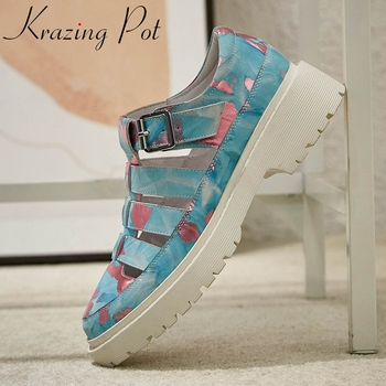 Krazing pot full grain leather round toe med heel thick bottom women shoes mixed color buckle strap summer sandals women L71