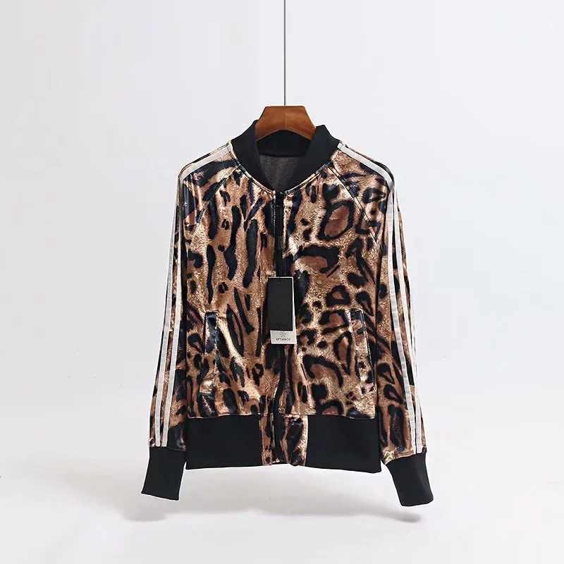Европа и Америка Новый стиль Мода бархат Универсальный с молнией булавка tiao леопардовый узор маленькая куртка женские пальто Топы