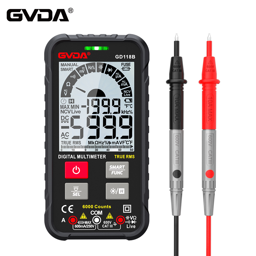 Цифровой мультиметр GVDA, тестер емкости, истинных среднеквадратичных значений, Омметр, Гц, Бесконтактный индикатор напряжения, AC/DC
