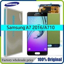 Ban đầu 5.5 Super AMOLED LCD dành cho SAMSUNG Galaxy SAMSUNG Galaxy A7 2016 Màn Hình LCD Hiển Thị A7100 A710F A710 Màn Hình Cảm Ứng LCD Bộ Số Hóa thay thế