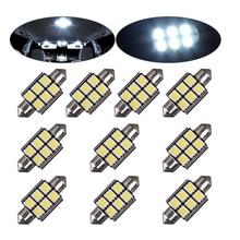 цена на 6PCs Bright White Festoon 6 SMD 5050 LED 6led C5 36mm 39mm Dome Interior License Plate Light Wholesale DC12V Auto Door Bulb