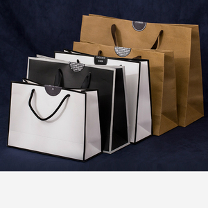 Image 2 - 10 個大白とクラフト紙包装袋衣服のギフト紙袋ハンドル小さな黒紙ショッピングバッグ