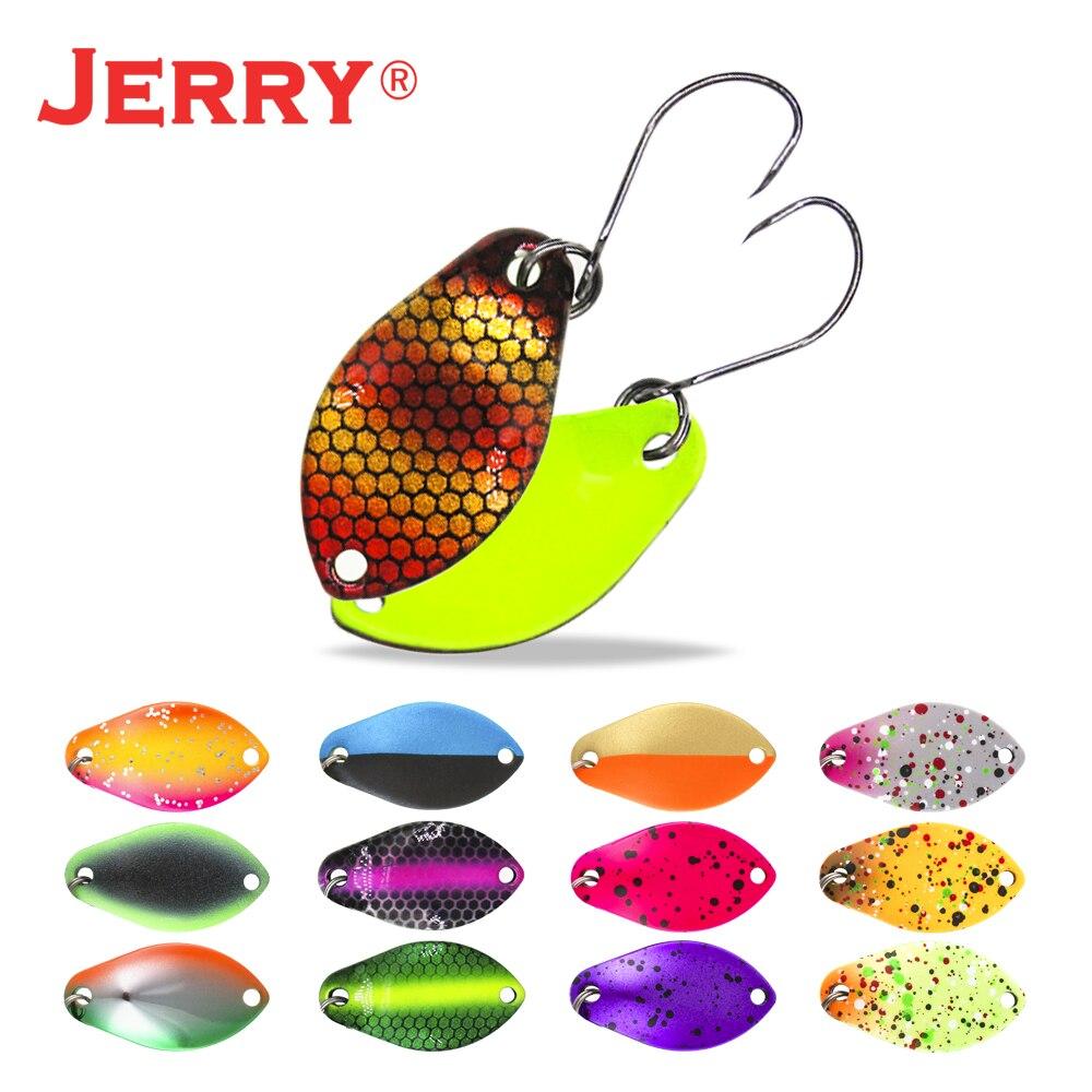 Jerry 2g 3g micro colheres de truta ultraleve colheres de pesca de bronze único gancho de água doce metal iscas área pique poleiro pesca pesca