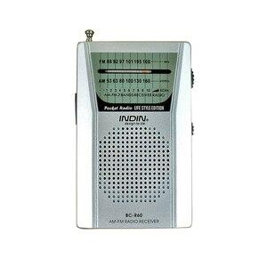 Image 1 - נייד BC R60 כיס רדיו אנטנה טלסקופית מיני רדיו עולם מקלט עם רמקול 3.5mm אוזניות שקע