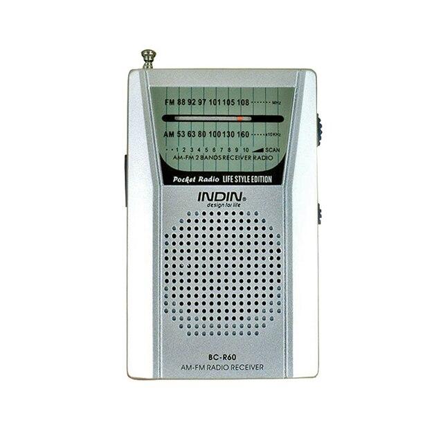 Portatile BC R60 Pocket Radio Antenna Telescopica Mini Radio Mondo Ricevitore con Altoparlante 3.5 millimetri Auricolare Martinetti