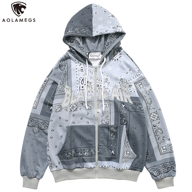 Aolamegs Men Zipper Hoodies Vintage Totems Letter Embroidery Streetwear Casual Baggy All-match Autumn Hooded Sweatshirt Coat men