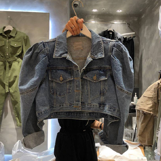 [EWQ] 2021 Autumn New Puff Sleeve Women Blue Turn-down Collar Short Coats Laides Loose Casual Overcoats 16Q57705 1
