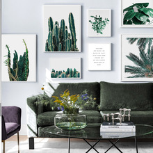 Fresh Green Plant Cactus Palm Quote HD Wall Art Canvas Painting Nordic Posters And Prints Pictures For Living Room Decor