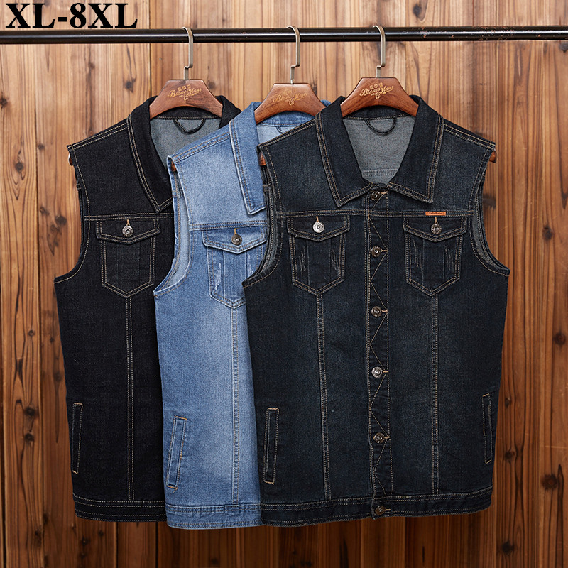 5XL 6XL 7XL 8XL 2020 New Men's Denim Vest Fashion Casual Classic Style Slim Fit Vest  Jeans Jacket Coat Male Blue Black Gray