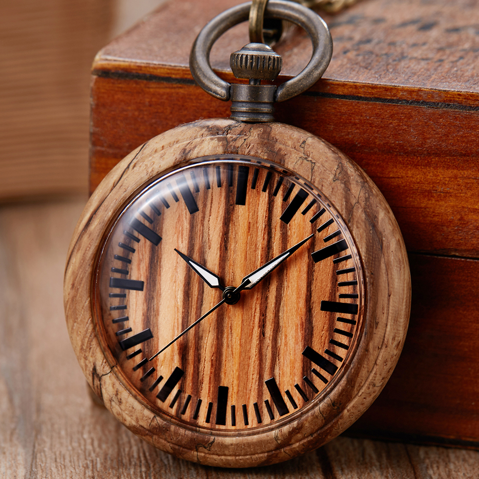 Creative Wood Pocket Watch Quartz Natural Wooden Watches Fob Chain Pendants Gift For Men Women Unqiue Clock Reloj De Bolsillo
