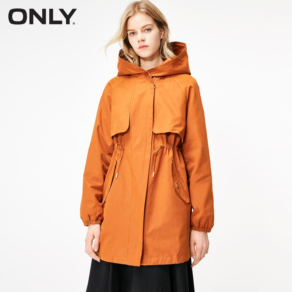 ONLY Women's Mid-length Waist Drawstring Hooded Trench Coat | 119136525