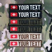 Bande personnalisée pour nom, drapeau suisse, Patch brodé, crochet et boucle Multicam vert, ACU noir, AU FG Tan EMR AOR