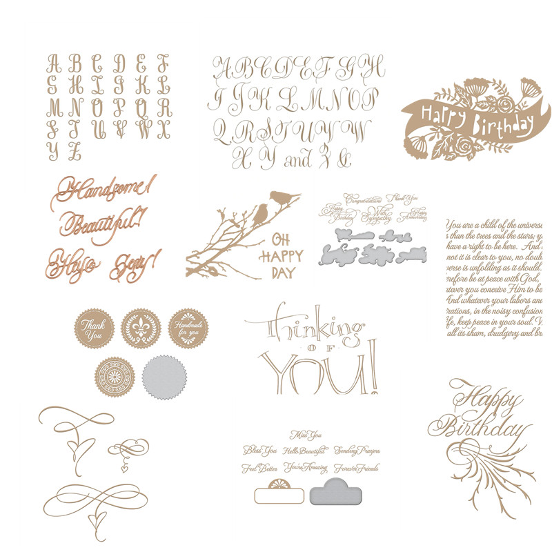 Thanks Happy Alphabet Metal Cutting Dies For DIY Scrapbooking Album Paper Card X