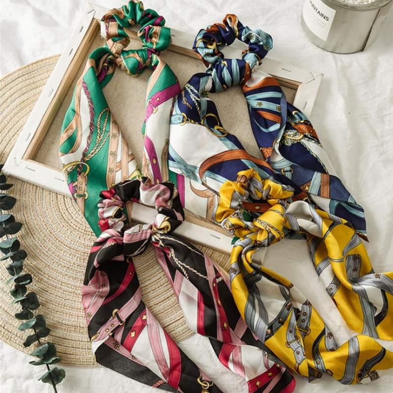 Satin Ribbon Hair Scrunchies Women Elastic Solid Hair Bands Long Style Ponytail Holder Girls Tie Rope Hair Accessories Headdress