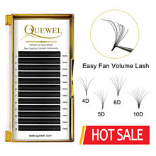 Quewel Easy Fan Volume Eyelash Extension Blooming Lashes Self-making Flowering Fast Fans Eyelashes Bloom Thick Faux Mink Lash