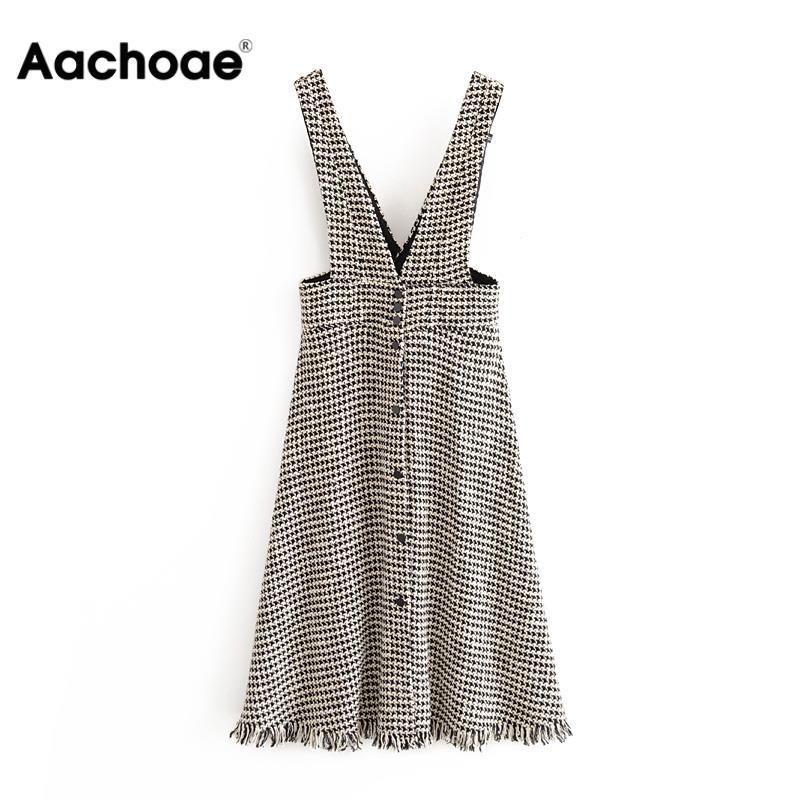 Aachoae Plaid Dress Women V Neck Sleeveless Streetwear Dresses Lady A Line Tassel Knee Length Casual Sundresses Ropa Mujer