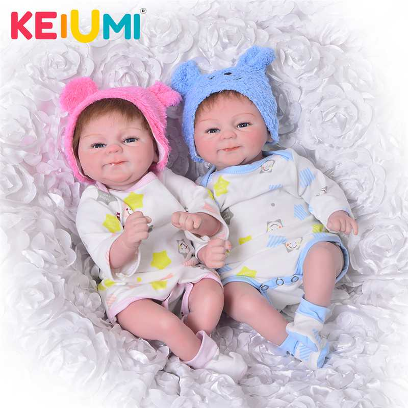 KEIUMI Lifelike 17 Inch Baby Doll Toy 42cm Silicone Reborn Babies Doll Girl Boy Open Eye Twin Toddler Birthday Gift Bedtime Play