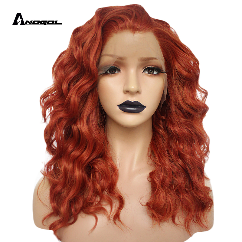 Anogol Auburn Orange High Temperature Fiber Long Deep Wave Hair Wigs Synthetic Lace Front Wig For Women Free Part