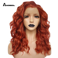 Wig Hair-Wigs Anogol Auburn Lace-Front Synthetic Free-Part Orange Deep-Wave Women